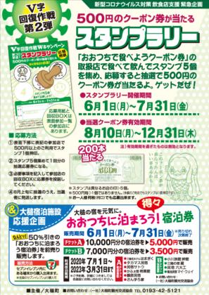 【V字回復作戦第2弾】500円のクーポン券が当たるスタンプラリー